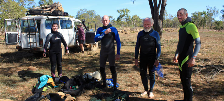 Suiting up for a snorkel in one of the majestic water holes to look for turtles.