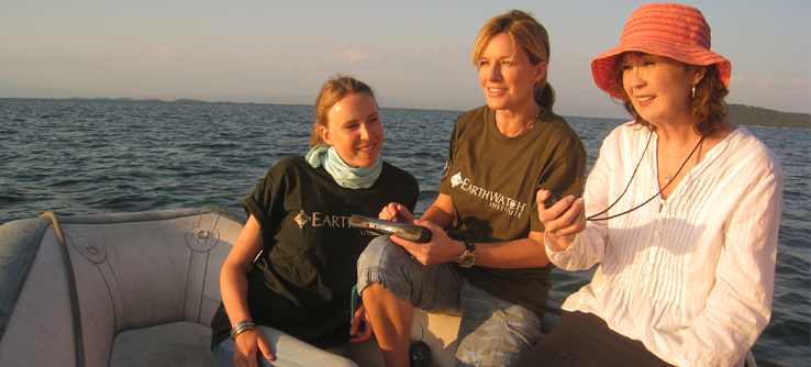 Earthwatch volunteers conducting a dolphin survey, Greece