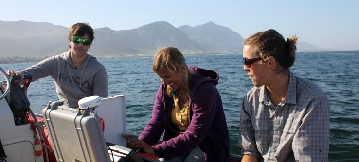 Team members collect water depth and other environmental data.