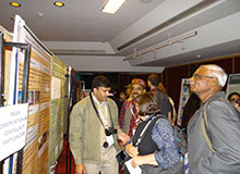 Dr. Harendra Bargali discusses his research during a poster presentation.