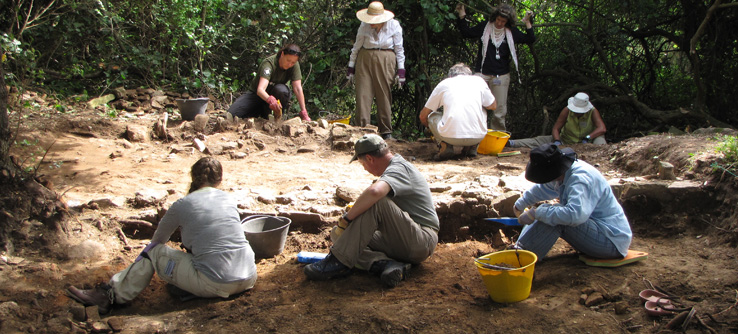 Archaeological dig site and volunteers, Tuscany, Italy