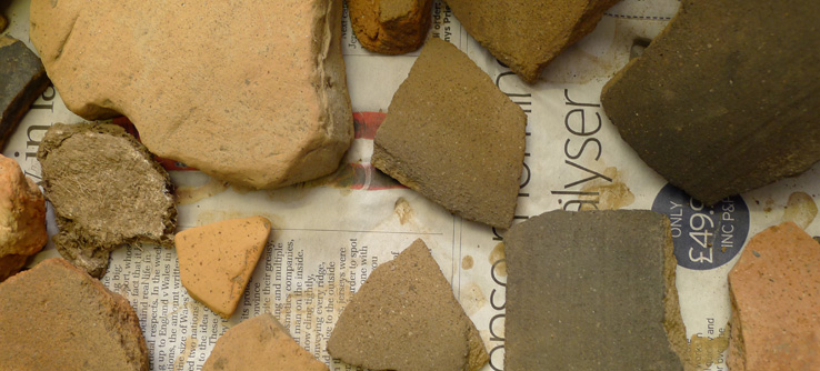 Pottery fragments found on an Earthwatch archeological dig.