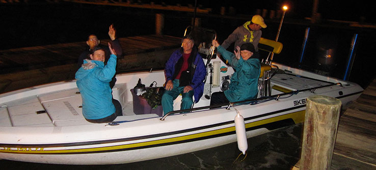 You'll go out in boats in the evenings to conduct nighttime loon captures.