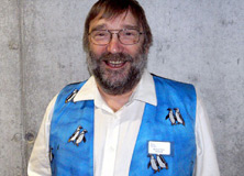 Peter Barham, in his penguin vest.