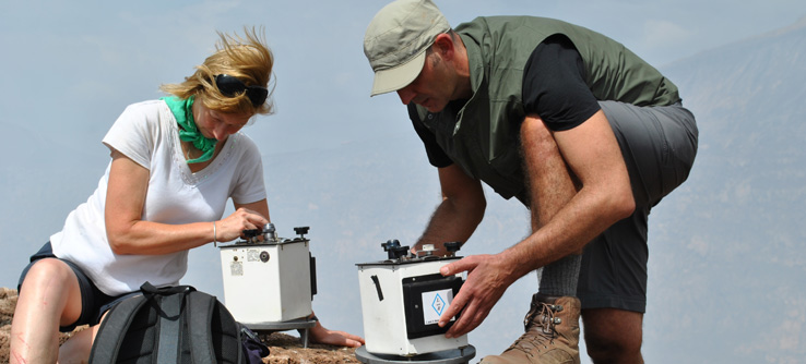 Researchers conducting gravity surveys on Masaya Volcano