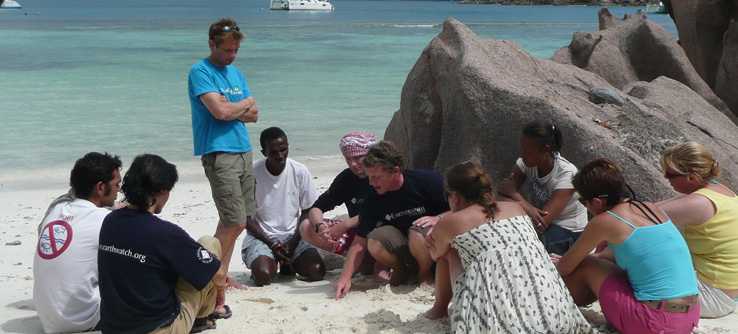 Earthwatch research team in the Seychelles
