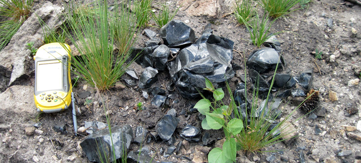 Prehistoric obsidian artifacts, Valles Caldera, New Mexico