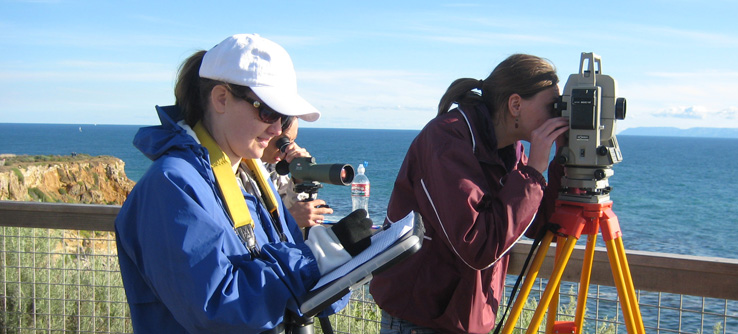 Volunteers using a theodolite to observe whales