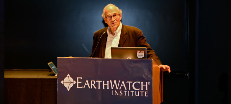 Earthwatch Chief Scientist Dr. Bill Moomaw presented the history of climate change research.