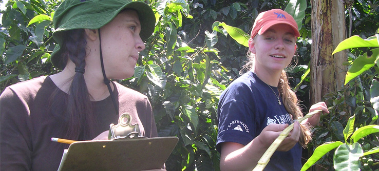Earthwatch volunteers researching environmentally friendly coffee-growing practices in Costa Rica