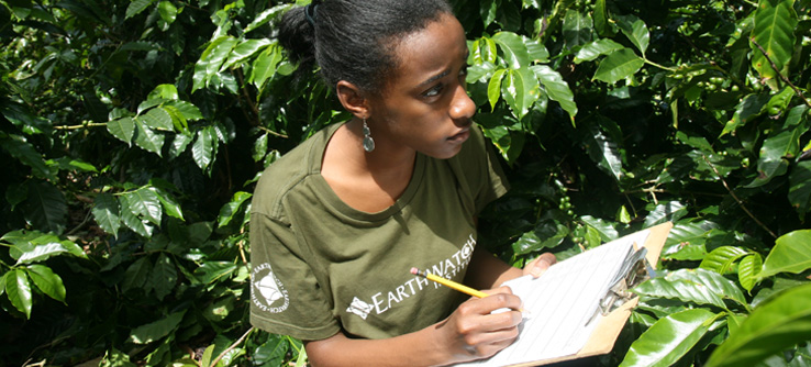 Earthwatch volunteer conducting a habitat survey in Costa Rica