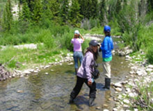 Volunteers exploring a river through the Greater Yellowstone ecosystem while experiencing nature.