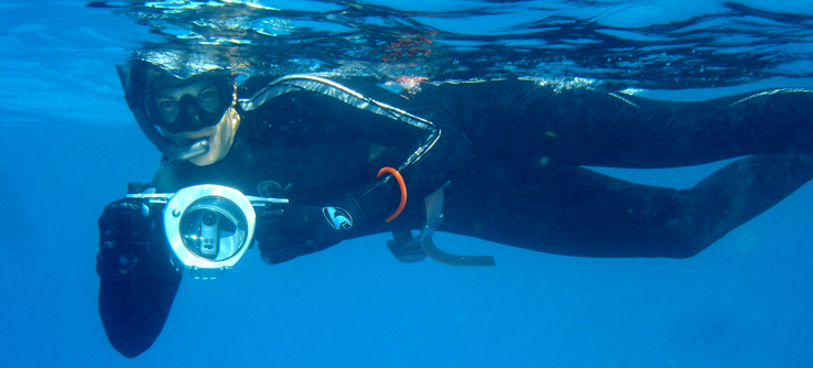 Volunteer snorkeling with an underwater camera