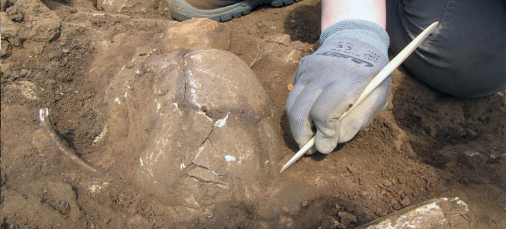 A volunteer unearths pottery at the Roman villa on Windmill Hill.