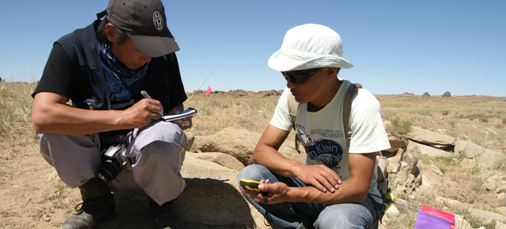 Earthwatch scientists mapping archaeological sites using GPS technology