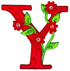Flower Letter Y (OUT-1Z125Y) Embroidery Design by Glenn ...