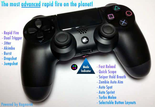 Best Playstation 4 / PS4 Rapid Fire Modded Controller Dual Shock 4 with Ragnarok