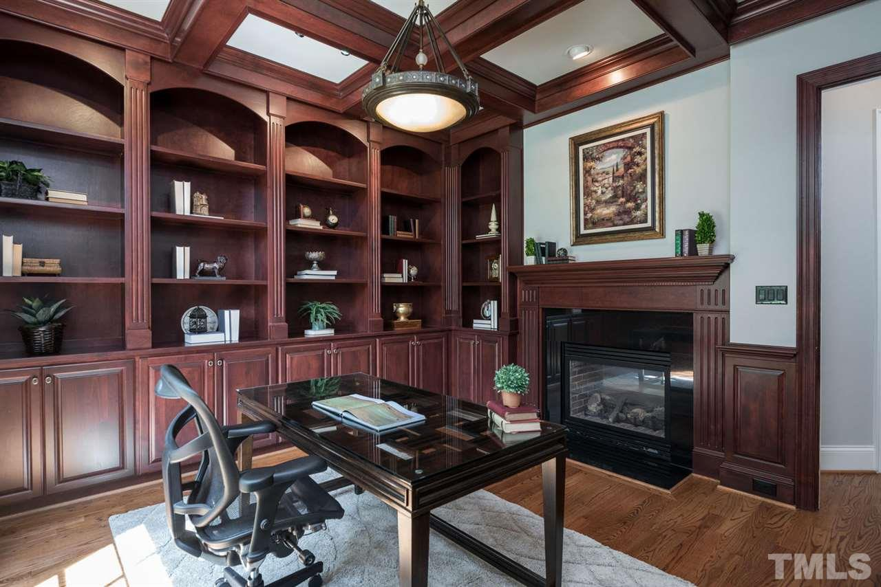 with custom built-ins and fireplace