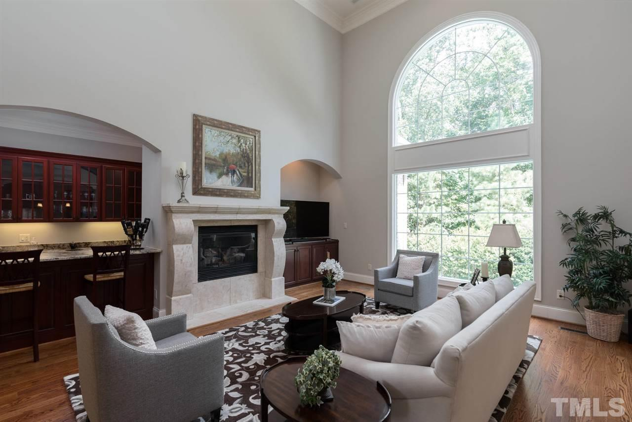 with vaulted ceiling and wet bar