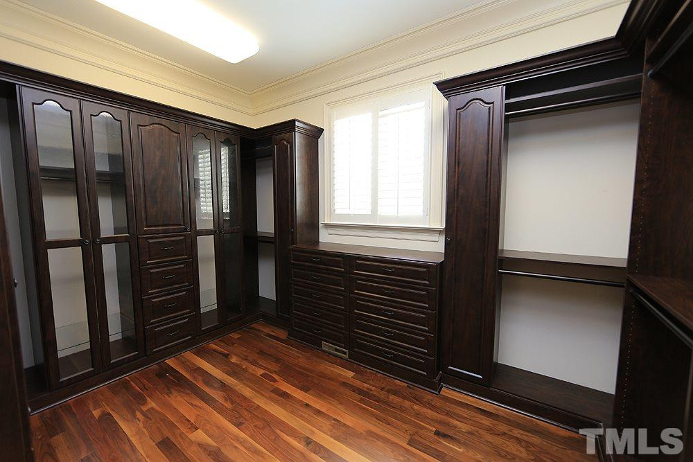 Fabulous closet in master suite, beautiful built ins. One of 2 closets in the suite