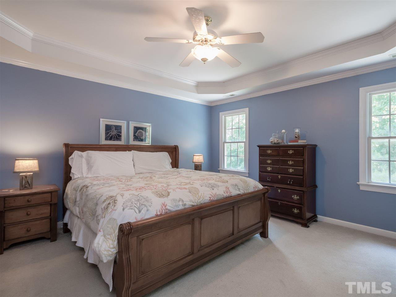 Oversized master bedroom with trey ceiling and lots of natural lighting. Master includes a walk-in closet and remodeled master bath.