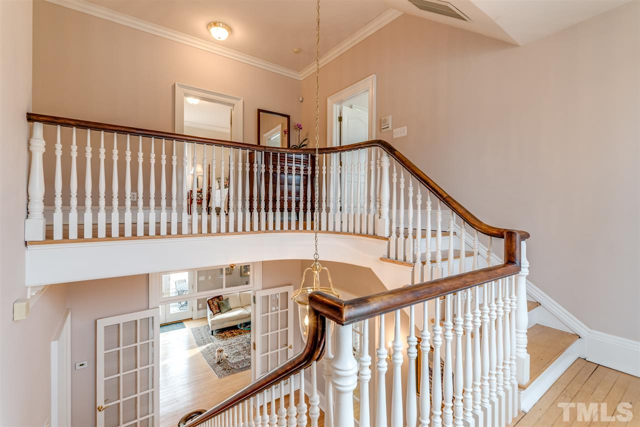 Bannister is original to the home.  1st floor boasts 10-1/2 foot ceilings, 2nd floor boasts 9-1/2 foot ceilings!