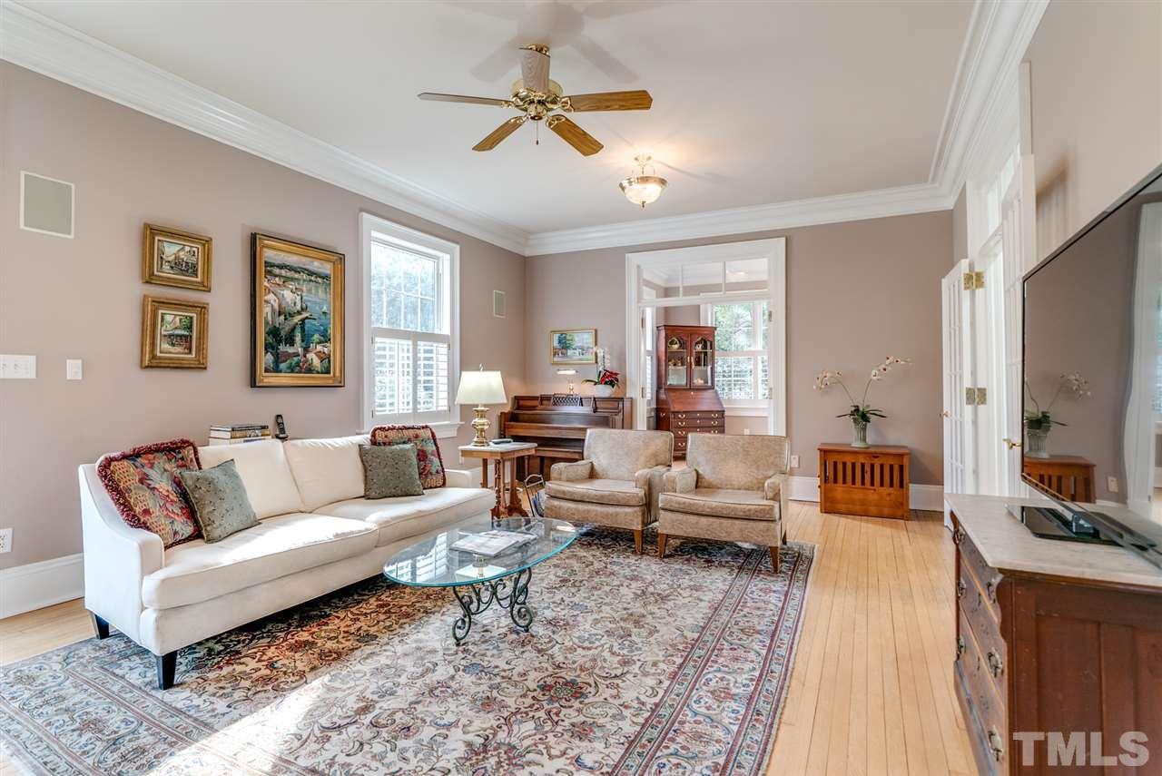 Huge living room with original french doors