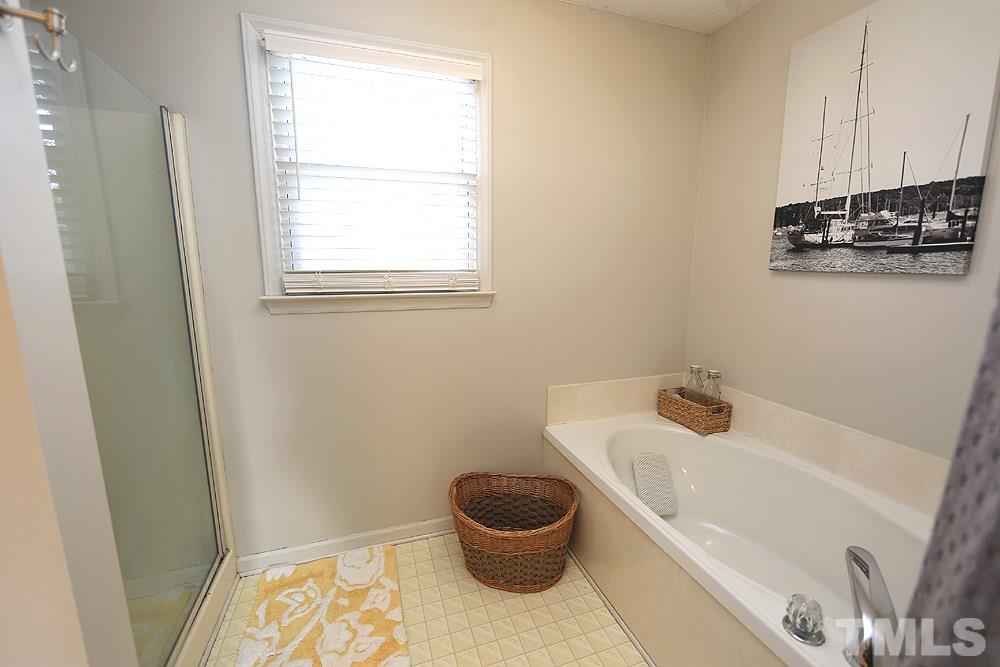 Double vanity and walk-in master closet.