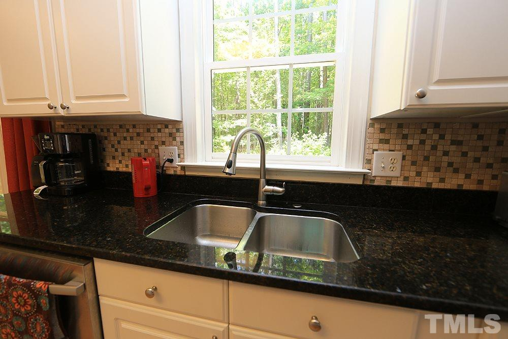 Recessed kitchen sink and peaceful natural view of the back woods.