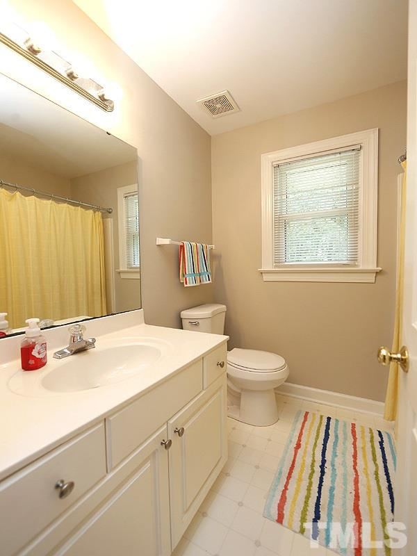 Upstairs Bath has plenty of space for your guests or family.