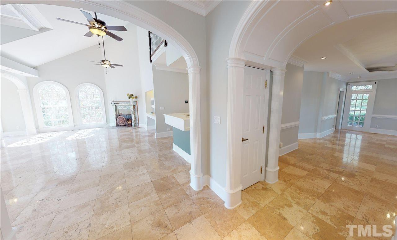 The traffic pattern in this home is gently flowing, thru the front of the home around the dining room and into the living room, kitchen and bar area. Perfect for entertaining a large event or just a small intimate gathering.