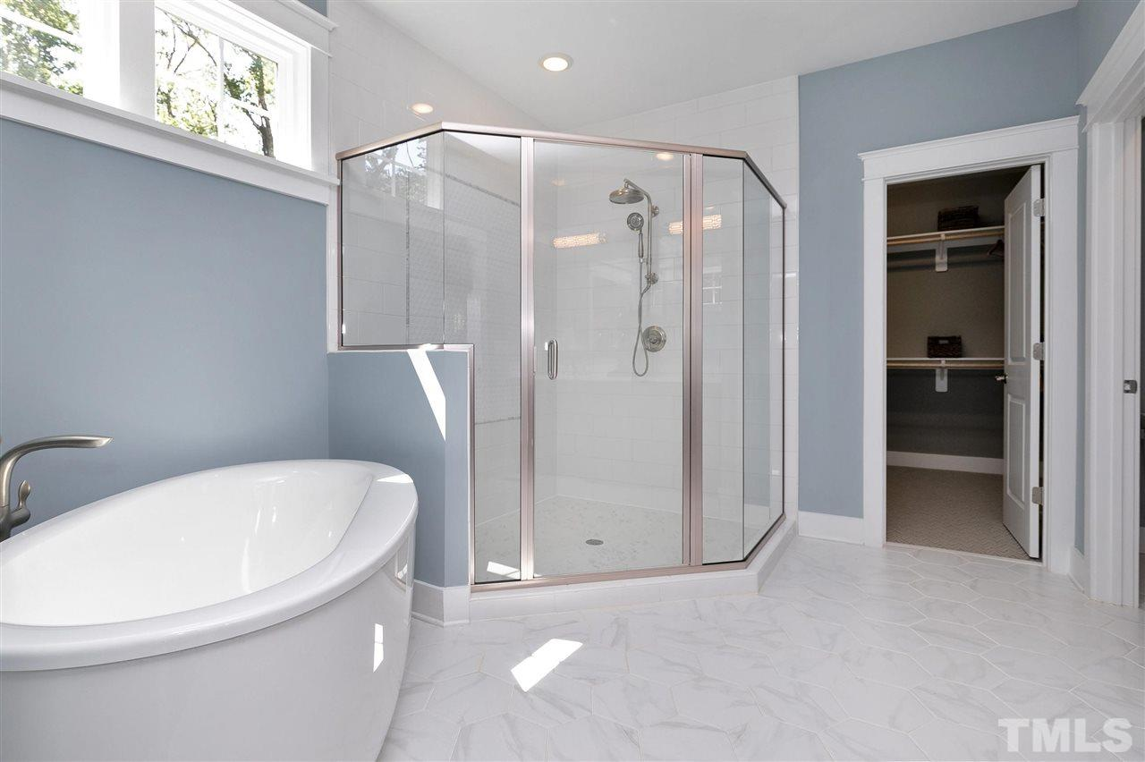 Amazing shower and stand alone tub. Upgraded rain shower head.