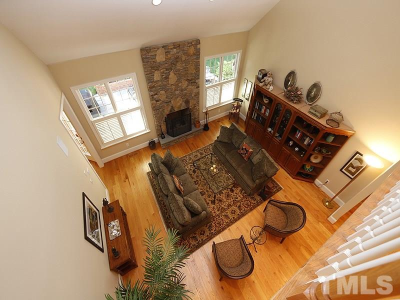 View of living room from second floor.