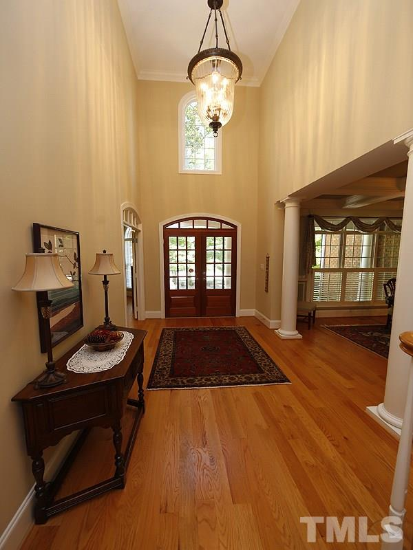 Two story foyer just off the covered front porch entrance.