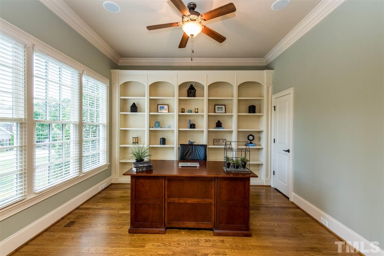 Study with French Doors, Large Walk in Closet with convenient shelving, Beautiful Custom Molding
