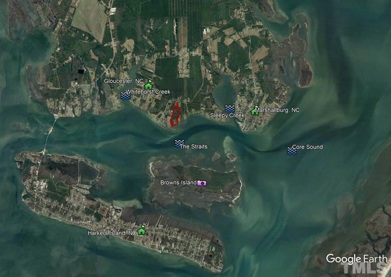 Property is situated on the deep water of the Straits, near Harkers Island and Marshallburg, NC.