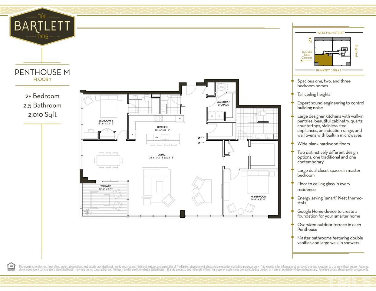 Penthouse residences are customizable - work with our architect to create your own dream home!  This floorplan shows one idea of how this residence could look, but with a Penthouse at The Bartlett, the sky is the limit!