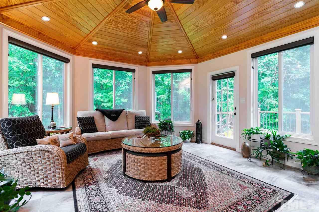 Four season room with an amazing tongue and groove ceiling, two skylights and great windows over looking the backyard.