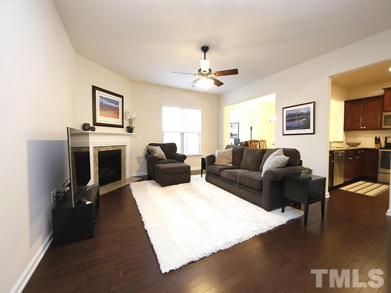The open floor plan is great for entertaining yet is very cozy.  The corner gas fireplace adds to the ambience.