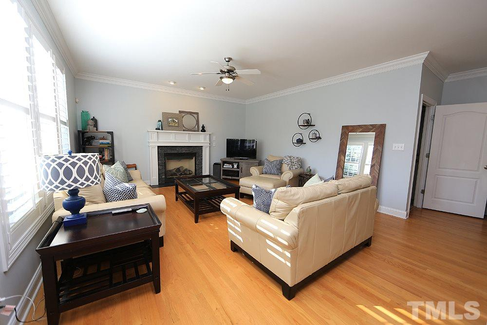 This is a great place to hang out with openness to the kitchen, gas logs in fireplace, hardwoods.