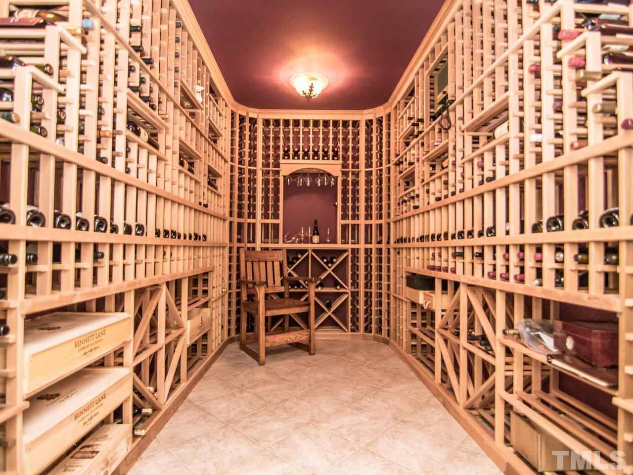1200+ bottle cellar with rope lighting.