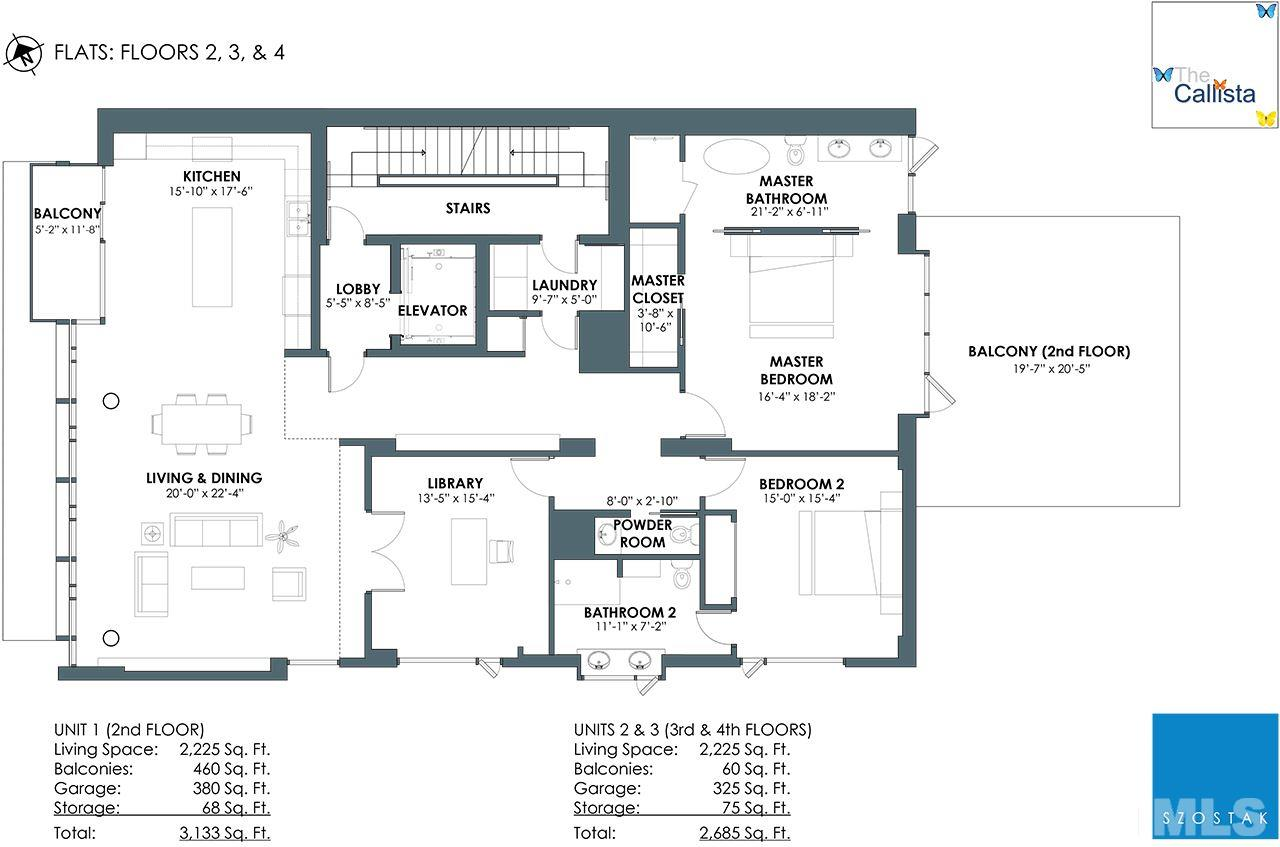 Two bedroom plus library option: Units 1,2,3