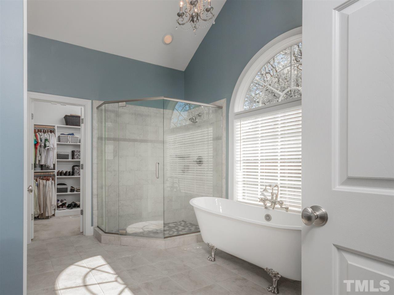 Amazing!!  Free-standing tub, frameless shower, double furniture-style vainities and a private water closet.