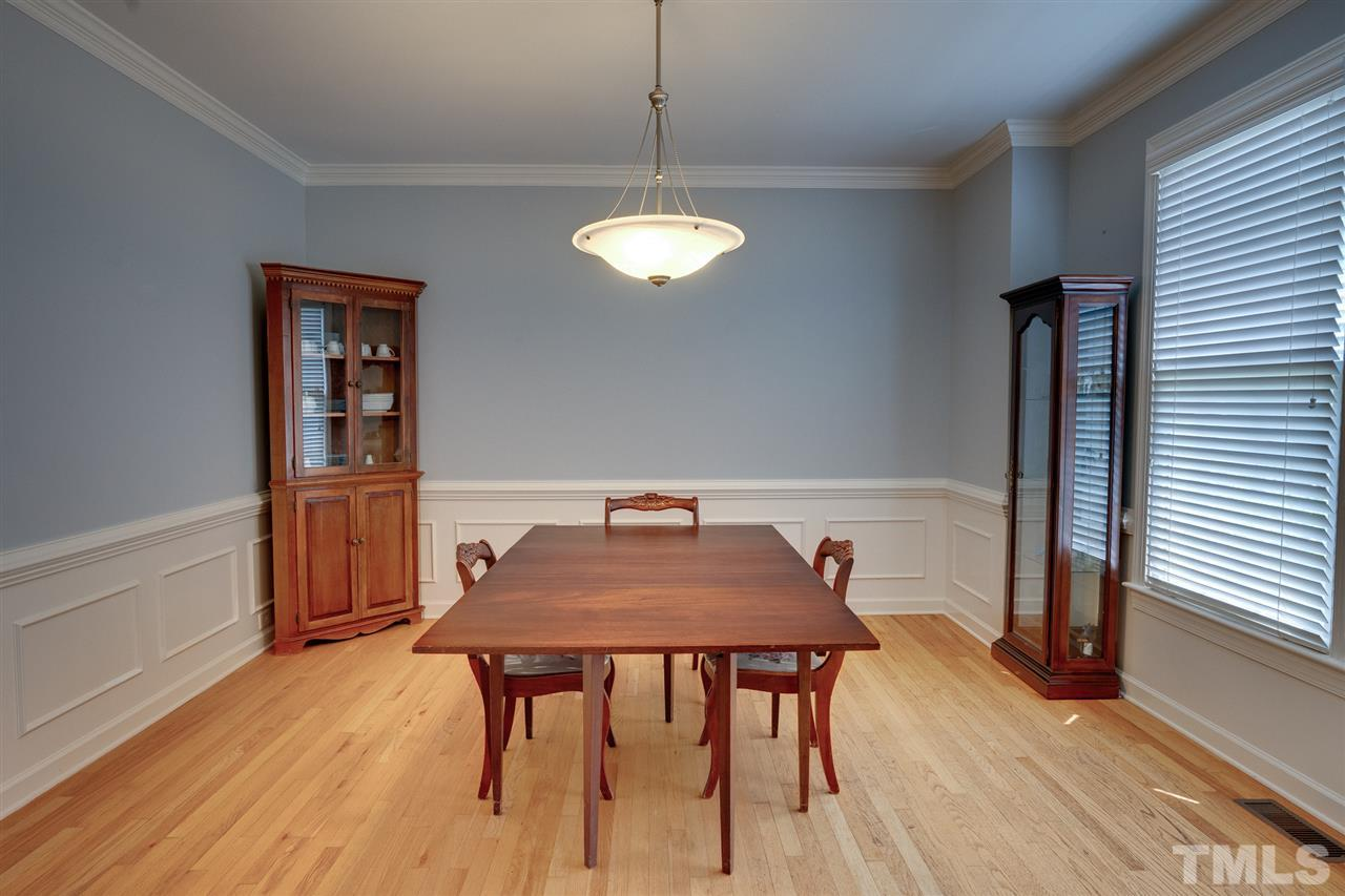 To the right of the entry foyer is the spacious dining room.