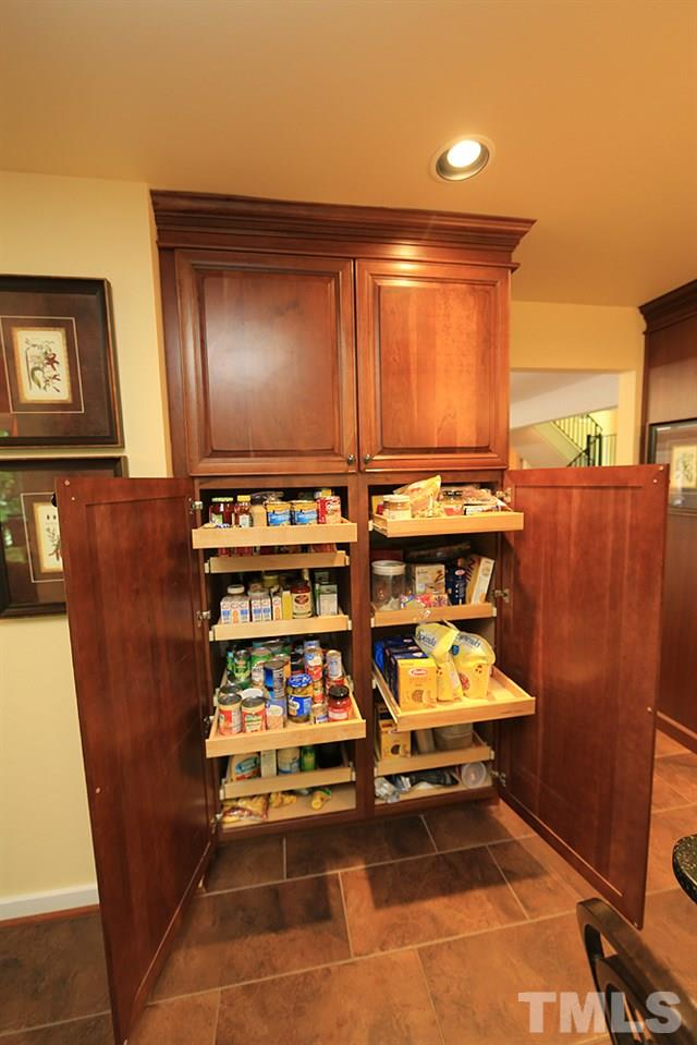 Kitchen pantry with slide out drawers