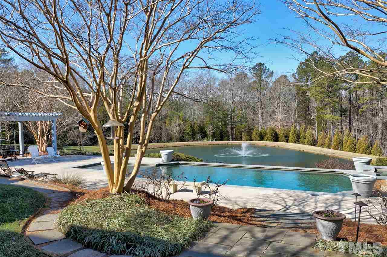 What a tranquil view across the pool beyond to the pond with a stunning water fountain.
