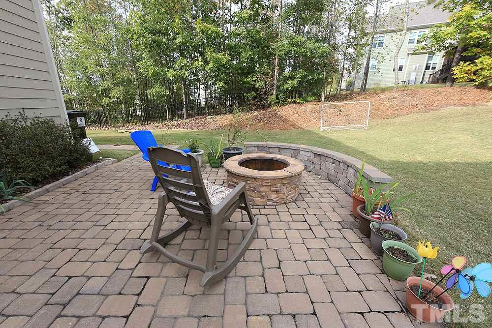 Paver Patio with Fire-pit. Great to enjoy on these fall evenings.