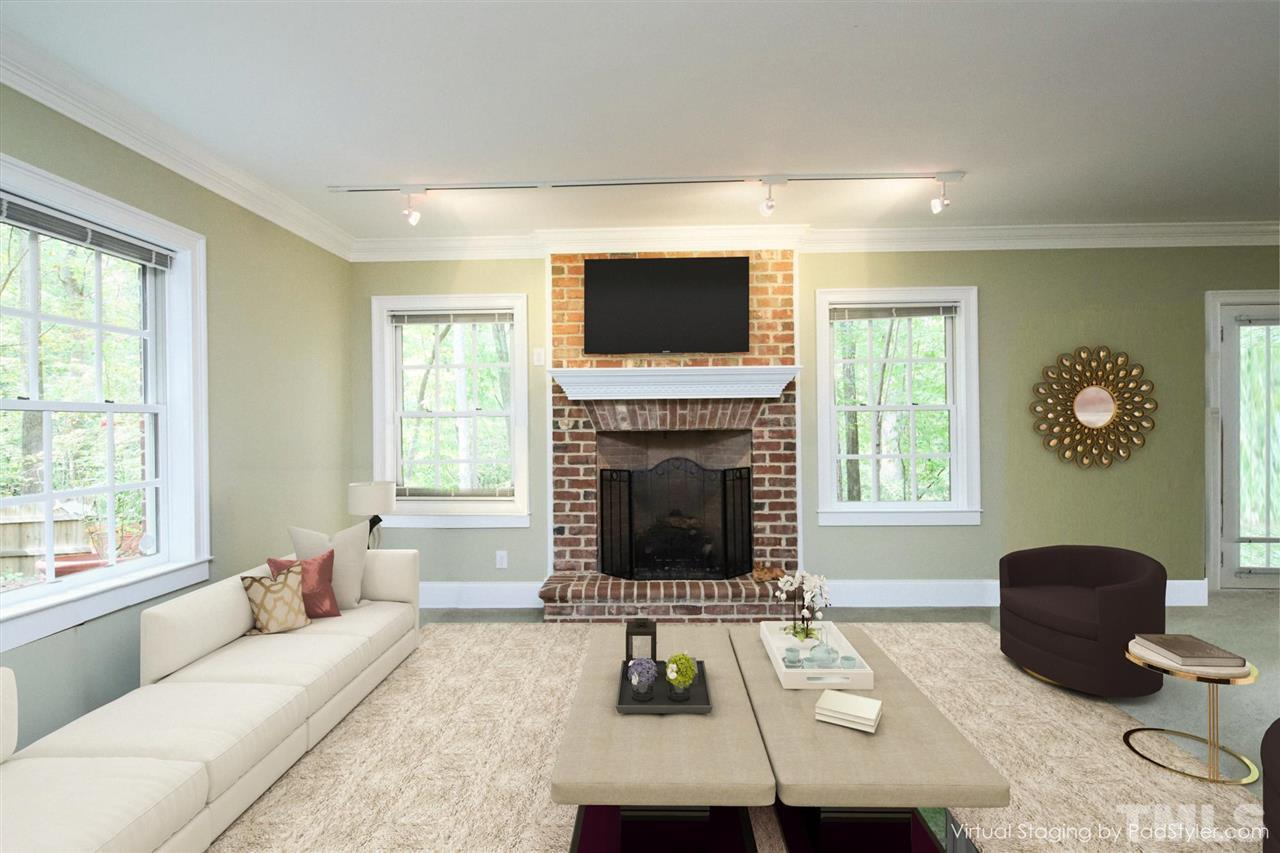 Virtually Staged main lower level area!