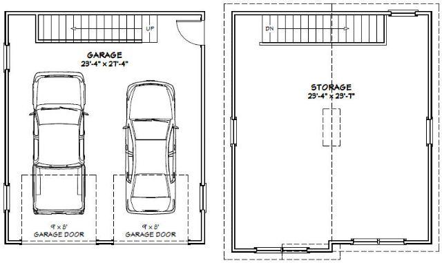 24x28 2-Car Garage