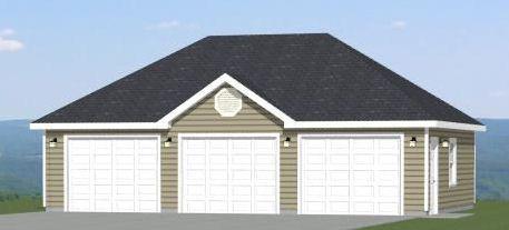36x24 3Car Garage Model 1I PDF Floor Plan VALDOSTA GEORGIA – 36 X 24 Garage Plans